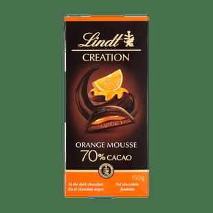 Lindt Creation Hořká čokoláda se šlehanou hořko-čokoládovou a pomerančovou náplní 70% 150g