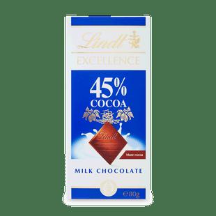 Lindt EXCELLENCE Mléčná čokoláda 45% kakaa 80g