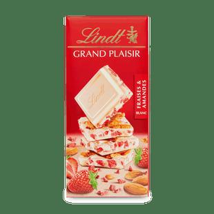 Bílá čokoláda Grand Plaisir s kousky jahod a mandlí 150g