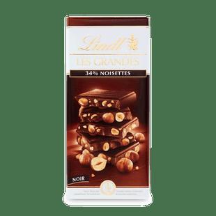Hořká čokoláda Les Grandes s celými lískovými jádry 150g