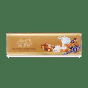 Lindt Švýcarská Mléčná čokoláda s rozinkami a oříška 300g