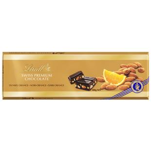 Lindt Švýcarská Hořká čokoláda s pomerančem a mandlemi 300g