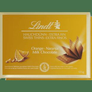 Lindt Thins Orange Mléčná čokoláda s příchutí pomeranče 125g